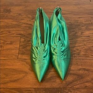 Green pointy booties